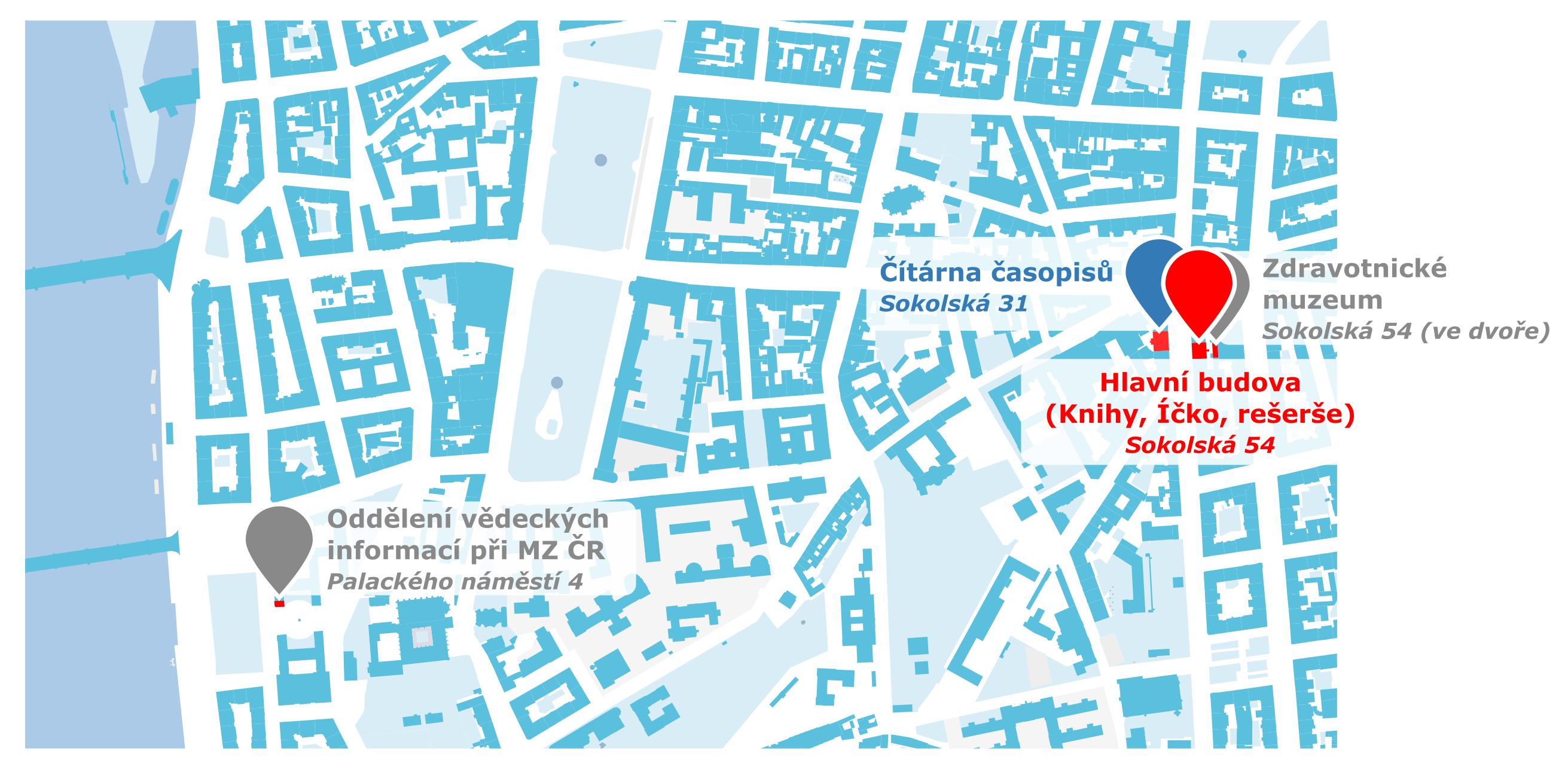 Mapa rozmístění budov v Praze.